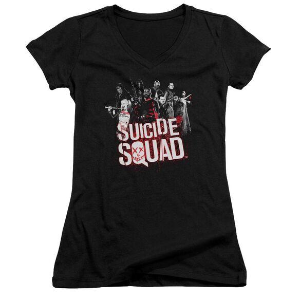 Suicide Squad Squad Splatter Junior V Neck T-Shirt