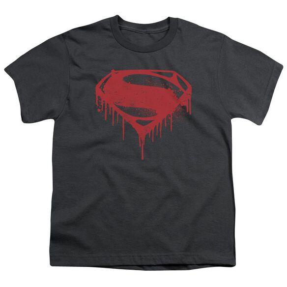 Batman V Superman Splattered Short Sleeve Youth T-Shirt