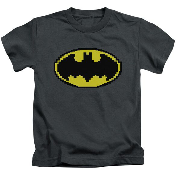 Batman Pixel Symbol Short Sleeve Juvenile Charcoal T-Shirt