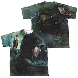 Arrow Hero (Front Back Print) Short Sleeve Youth Poly Crew T-Shirt