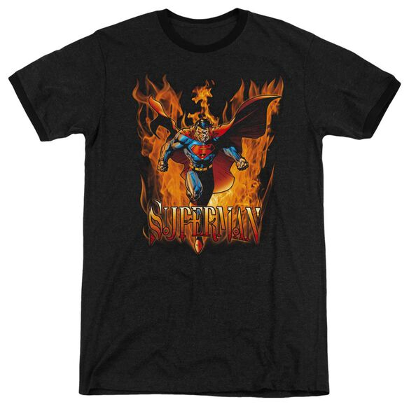 Superman Through The Fire - Adult Heather Ringer - Black