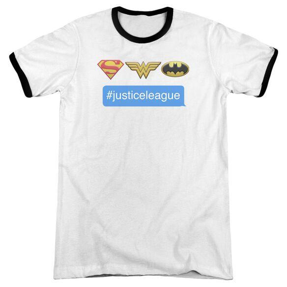 Dc Hashtag Jla Adult Ringer White Black