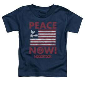 Woodstock Peace Now Short Sleeve Toddler Tee Navy T-Shirt