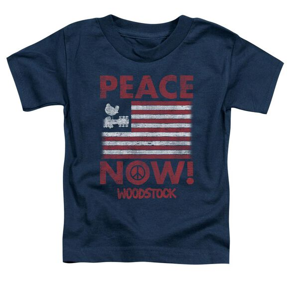Woodstock Peace Now Short Sleeve Toddler Tee Navy T-Shirt