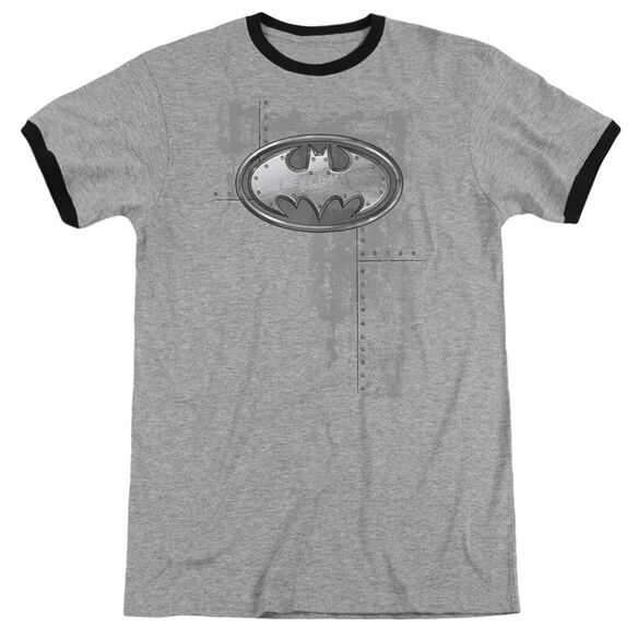 Batman Rivited Metal Logo Adult Ringer Heather Black