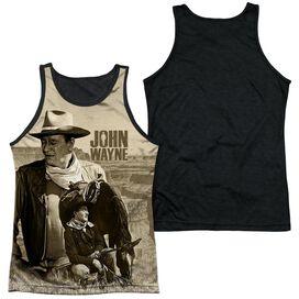 John Wayne Stoic Cowboy Adult Poly Tank Top Black Back