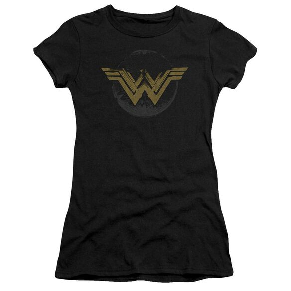 Wonder Woman Movie Distressed Logo Hbo Short Sleeve Junior Sheer T-Shirt