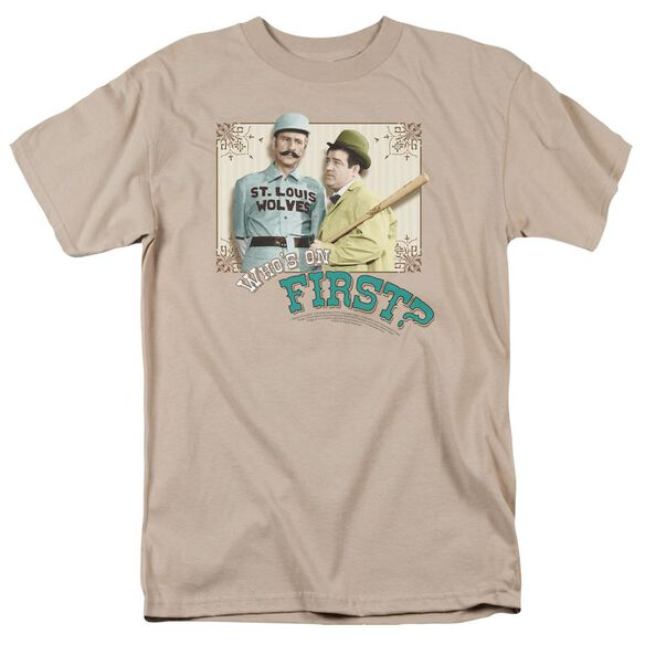 Abbott & Costello Who's On First Short Sleeve Adult Sand T-Shirt