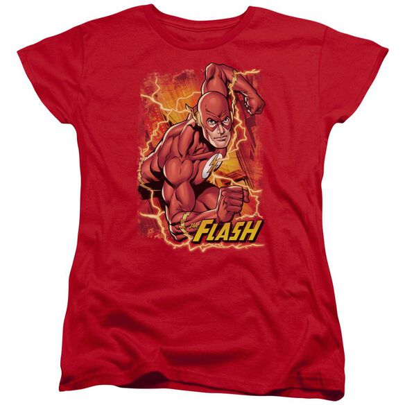 Jla Flash Lightning Short Sleeve Womens Tee T-Shirt