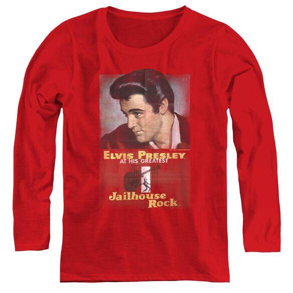 Elvis Presley Jailhouse Rock Poster - Womens Long Sleeve Tee - Red