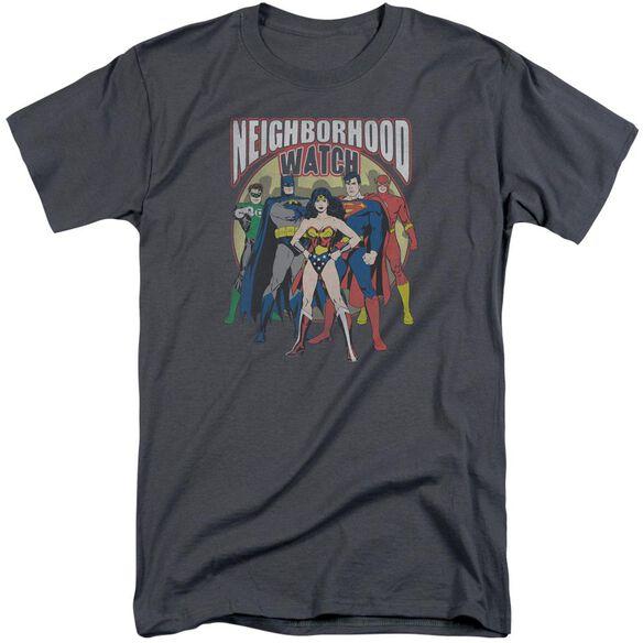 Jla Neighborhood Watch Short Sleeve Adult Tall T-Shirt