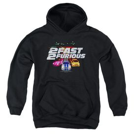 2 FAST 2 FURIOUS LOGO - YOUTH PULL-OVER HOODIE - BLACK - LG - Black
