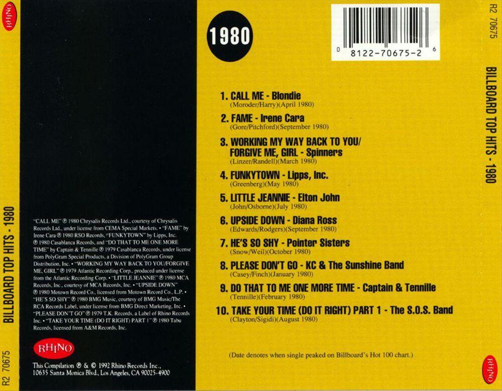 Images Billboard Top Hits 1980
