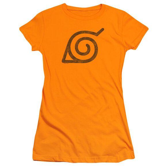 Naruto Shippuden Distressed Leaves Symbol Short Sleeve Junior Sheer T-Shirt