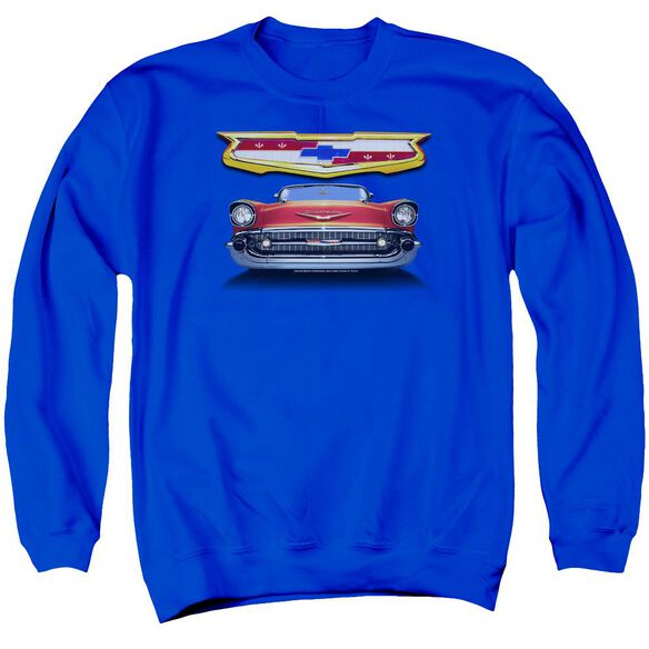 Chevrolet 1957 Bel Air Grille Adult Crewneck Sweatshirt Royal