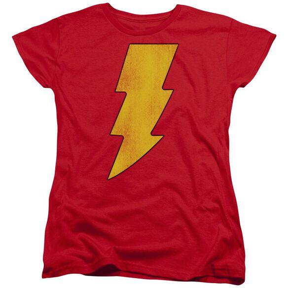 Dc Shazam Logo Distressed Short Sleeve Womens Tee T-Shirt