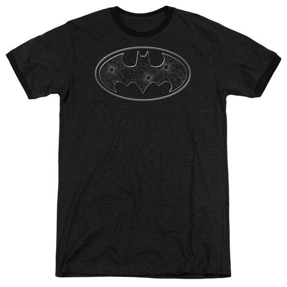 Batman Glass Hole Logo Adult Heather Ringer