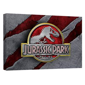 Jurassic Park Slash Logo Canvas Wall Art With Back Board