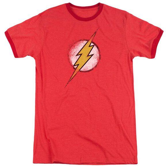 Jla Destroyed Flash Logo Adult Heather Ringer Red