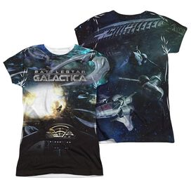 Bsg (New) Battle Seat (Front Back Print) Short Sleeve Junior Poly Crew T-Shirt