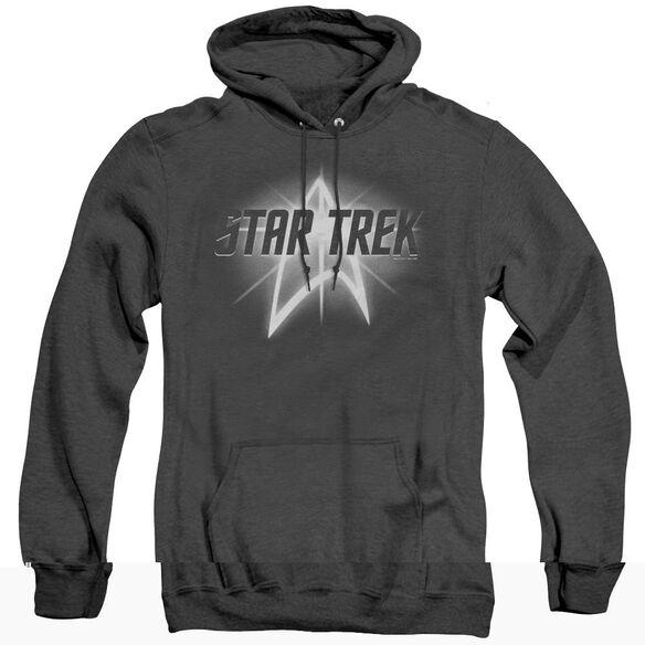 Star Trek Glow Logo - Adult Heather Hoodie - Black