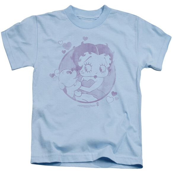 Betty Boop Perfect Kiss Short Sleeve Juvenile Light Blue T-Shirt