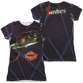 Night Ranger 7 Wishes (Front Back Print) Short Sleeve Junior Poly Crew T-Shirt
