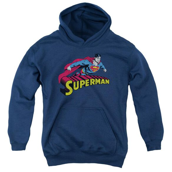 Superman Flying Over Youth Pull Over Hoodie