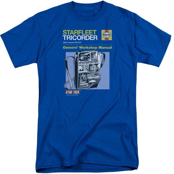 Star Trek Tricorder Manual Short Sleeve Adult Tall Royal T-Shirt