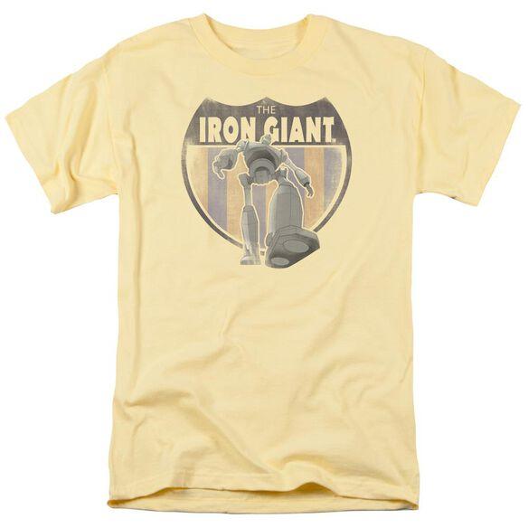 Iron Giant Patch Short Sleeve Adult Banana T-Shirt