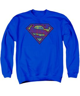 Superman Tattered Shield Adult Crewneck Sweatshirt Royal