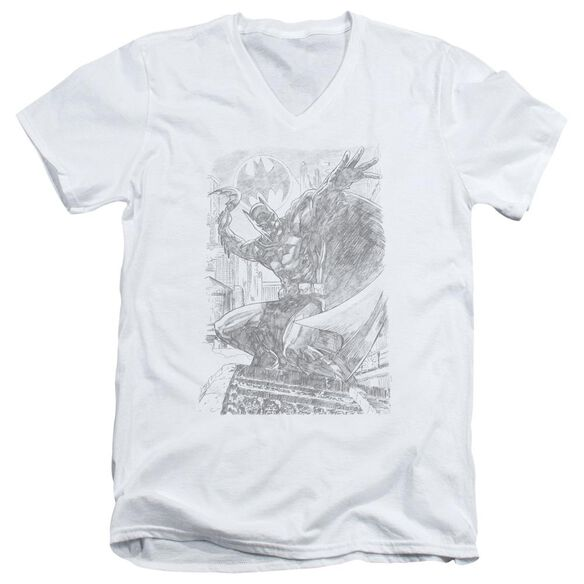BATMAN PENCIL BATARANG THROW - S/S ADULT V-NECK - WHITE T-Shirt