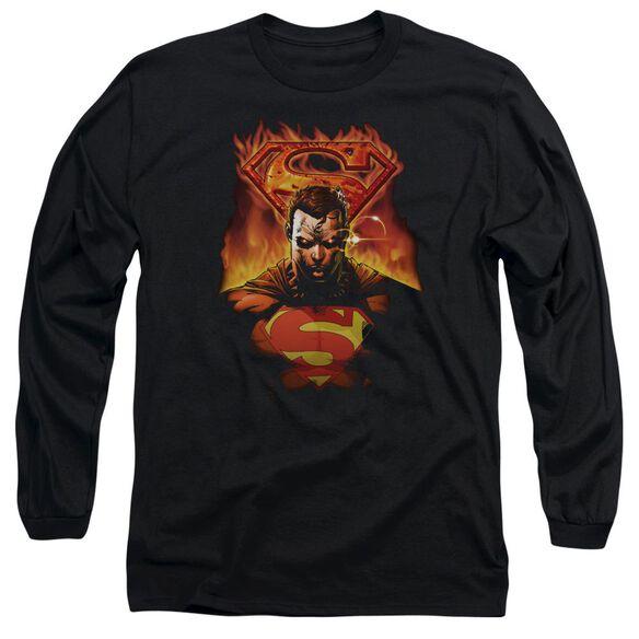 SUPERMAN MAN ON FIRE - L/S ADULT 18/1 - BLACK T-Shirt