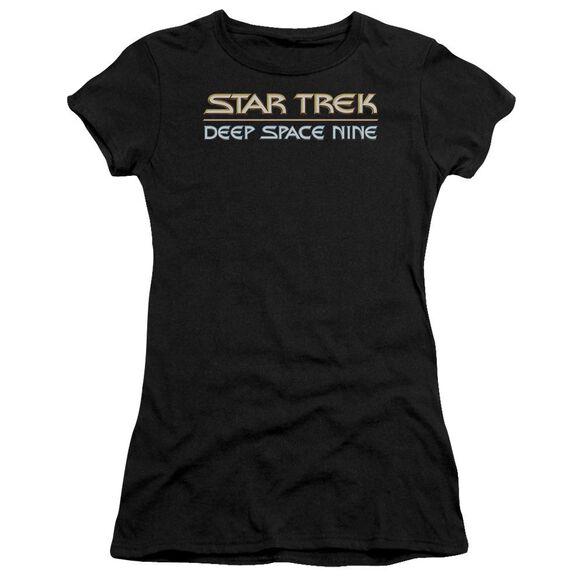 STAR TREK DEEP SPACE NINE LOGO - S/S JUNIOR SHEER - BLACK T-Shirt