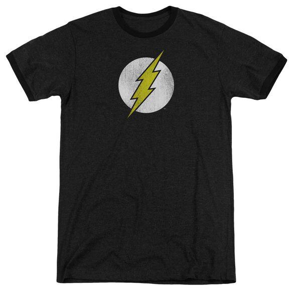 Dc Flash Flash Logo Distressed Adult Heather Ringer