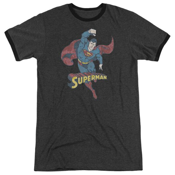 Dco Desaturated Superman Adult Heather Ringer Charcoal