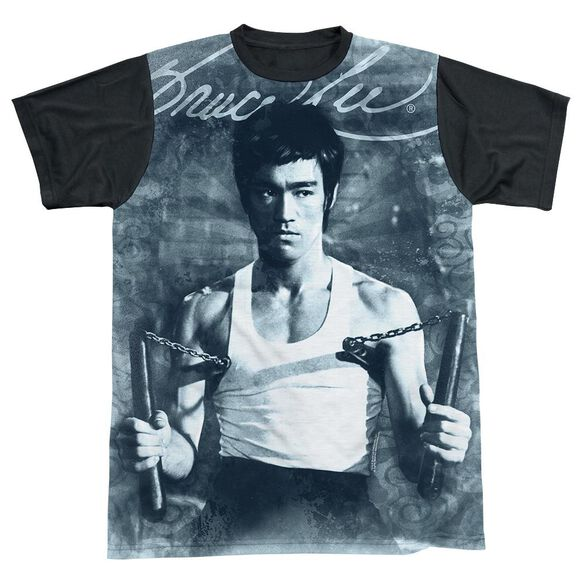 Bruce Lee Nunchucks Short Sleeve Adult Front Black Back T-Shirt