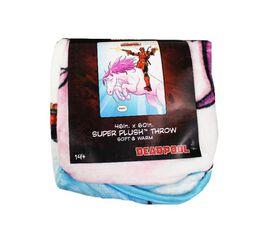 Deadpool Riding a Unicorn Super Plush Throw Blanket