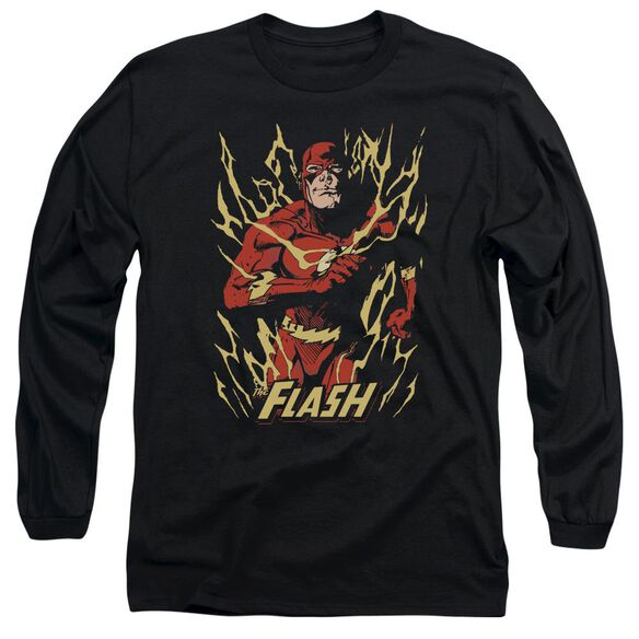 Jla Flash Flare Long Sleeve Adult T-Shirt