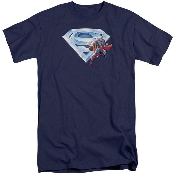 Superman Superman & Crystal Logo Short Sleeve Adult Tall T-Shirt