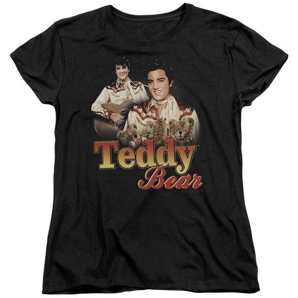 ELVIS PRESLEY TEDDY BEAR - S/S WOMENS TEE - BLACK T-Shirt