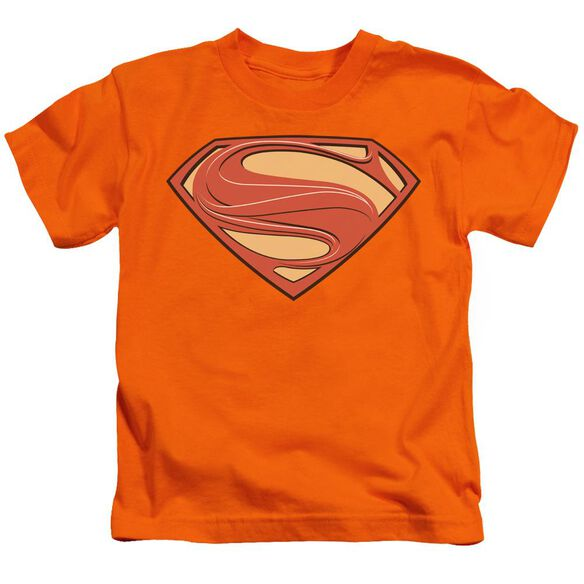 Man Of Steel New Solid Shield Short Sleeve Juvenile Orange T-Shirt