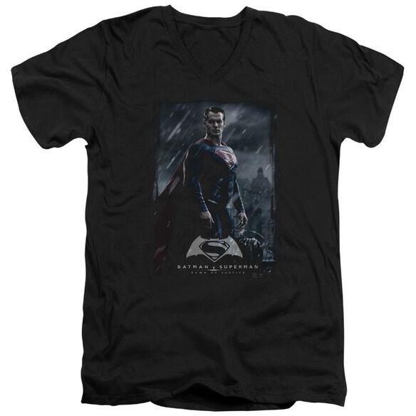 Batman V Superman Supe Poster Short Sleeve Adult V Neck T-Shirt