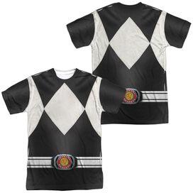 Power Rangers Black Ranger (Front Back Print) Short Sleeve Adult Poly Crew T-Shirt