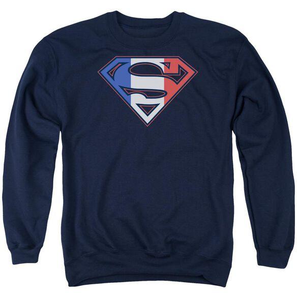Superman French Shield - Adult Crewneck Sweatshirt - Navy