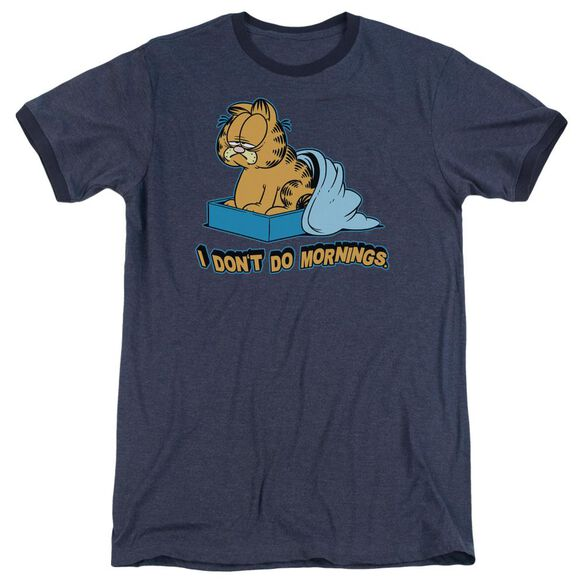 Garfield I Dont Do Mornings Adult Heather Ringer Navy