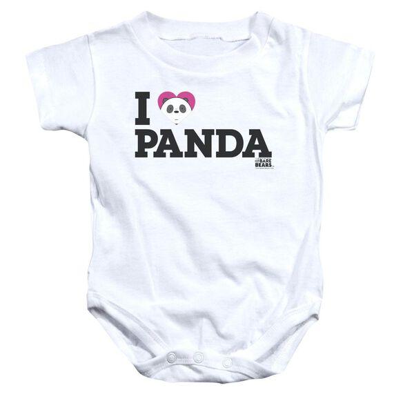 We Bare Bears Heart Panda Infant Snapsuit White