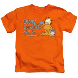 Garfield I Probably Did It Short Sleeve Juvenile Orange T-Shirt