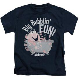 Mr Bubble Big Bubblin Fun Short Sleeve Juvenile Navy T-Shirt