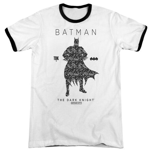 Batman Paislety Silhouette Adult Ringer White Black